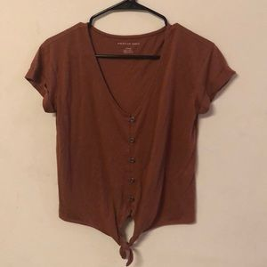 American Eagle Button Down tie front tee